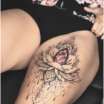 Lotus flower with pink diamond by Valery Tattoo - Tattoos for Women