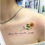 Phrase: This too shall pass and sunflower - Tattoos for Women