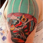Hot Air Balloon with Cage, Butterflies and Birds - Tattoos for Women