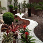 Garden decoration with river stones