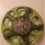 """UpCycled Hubcap Clock 15.5"""" Diameter Finished With Numbers"""
