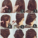 Collected short hair with braid