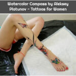 Watercolor Compass by Aleksey Platunov - Tattoos for Women