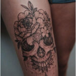 Skull and flowers by Sashatattooing - Tattoos for Women
