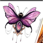 Butterfly Moth Diamond Chains Neotraditional Tattoo Design Ideas