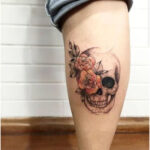 Skull with pink flowers - Tattoos for Women