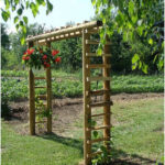 arbor made of landscape ties