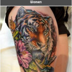 Tiger Among Flowers - Tattoos for Women