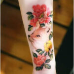 Fox with flowers by Tattooist Sion - Tattoos for Women