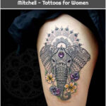 Elephant and Flowers by Coen Mitchell - Tattoos for Women