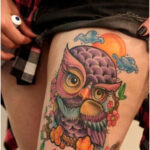 Owl on Cherry Blossoms - Tattoos for Women