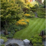 A garden with eastern and western influences and a circular water feature. Desig...